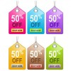 6 Glossy Colorful Sales Tags  PSD