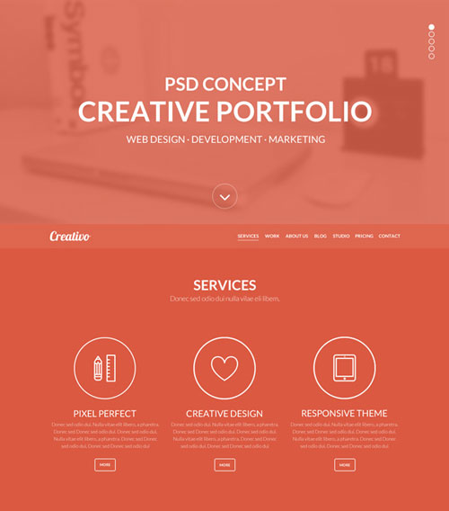 creativo-free-one-page-psd-template-preview